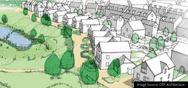 Image of an architects drawing of planned housing at Kilnwood Vale in Horsham, West Sussex