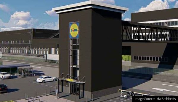 CG Inage of the new Lidl Warehouse and Logistics site at Burts Wharf
