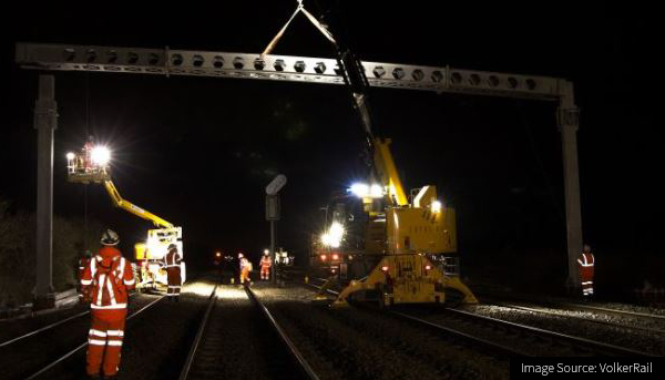 Image of night works on the VolkerRail Transpennine route infrastructure-construction project